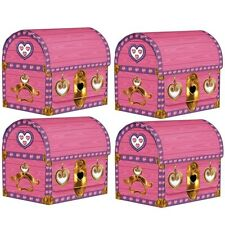 4 Pink PRINCESS TREASURE CHEST Party BOXES Decorations PIRATE Medieval Castle