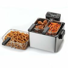 Deep Fryer With Basket For The Home Countertop Digital Double Programmable New