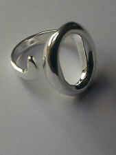 925 STERLING SILVER PLATED ADJUSTABLE THUMB FINGER  RING LARGE O - UNISEX
