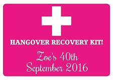 21 PERSONALISED GLOSSY HEN PARTY  HANGOVER RECOVERY KIT STICKERS,LABELS
