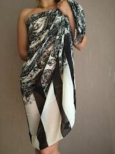 40891 - White Black Paisley Swimwear Beach Scarf Sarong Wrap Cover Over One Size