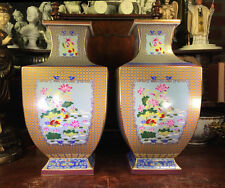 """ OLD  RARE   OF   RECTANGULAR    CHINESE   PORCELAIN   JARS / VASES   SIGNED """