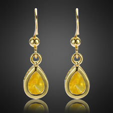 Xmas Fashion Jewelry Yellow Citrine Yellow Gold Plated Dangle Drop Earrings Gift