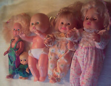 Assorted Sizes Plastic/Rubber Dolls BLUE EYES Blonde  FIVE DOLLS with Clothing!