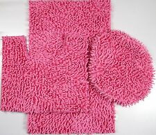 3 Piece Mixed Shiny Chenille Bath Mats Set Made with super soft Microfiber Pink