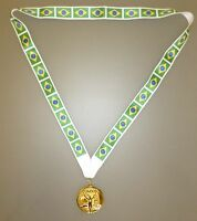 BRAZIL OLYMPIC MEDAL - Gold Olympic Style Medal with Brazil Flag Lanyard (MI3)