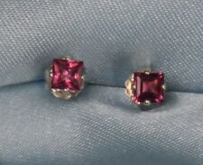 LOOK 2 DAY! SALE!!!  BEAUTIFUL 3MM SQUARE RED GARNET .925 STERLING SILVER STUDS
