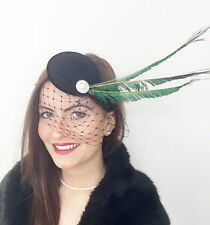 VINTAGE BLACK VEIL PEACOCK HAT HEADPIECE FASCINATOR PILLBOX 40'S WEDDING RACES