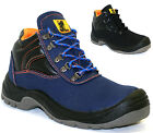 MENS LEATHER CANVAS LADIES SAFETY BOOTS WORK HIKER STEEL TOE CAP TRAINERS SHOES