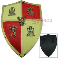 FOAM Castilian Levante Shield Replica Lion Fleur De Lis LARP Weapon Latex Gold