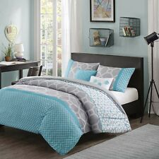 BEAUTIFUL MODERN GEOMETRIC BLUE WHITE AQUA GREY STRIPE COMFORTER SET FULL QUEEN