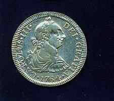 MEXICO SPANISH COLONIAL CHARLES III 1784-Mo-FF 2 REALES COIN ALMOST UNCIRCULATED