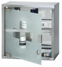 MEDICINE CABINET 2 SHELVES STAINLESS STEEL LOCK & KEY WITh GLASS DOOR 30X12X30CM