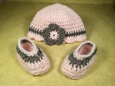 0-3 month baby handmade crochet pink hat and booties