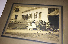 Antique C.1907 Spring Outdoor Farm Family, Dog! Animal Mounted / Cabinet Photo!