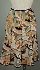 Boutique Tribal Sportswear Knit A-Line Mod Print Skirt Brown Mint Peach XL 16 18