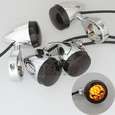 Skull Chrome Motorcycle 41mm Clamp LED Turn Signal Light  Indicator for Harley