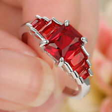 Lady's Jewelry white Filled Red Ruby Crystal Wedding Ring Gift size 6.5