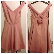 Dorothy Perkins Maya UK Size 12 Peach Pink Skater Dress Crossover Back