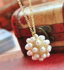 Fashion Charm jewelry Pearl Ball Retro long Pendant sweater Chain Necklace N135