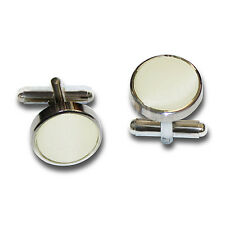 Mens Plain Wedding Silver Plated Cufflinks - Colour: Ivory