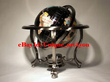 "Unique Art 13"" Tall Black Ocean Table Top Gemstone World Globe Tripod Leg silver"