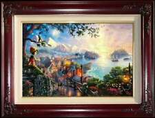 Thomas Kinkade DBL Signed Pinocchio Wishes Upon a Star 12x18 I/P Disney Canvas