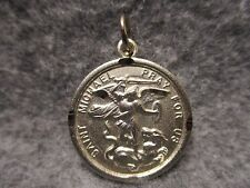 "Saint Michael Pray For Us Silver Plated Pendant Charm w/ Jump Ring 1"" Diameter"