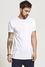 New Men Mens Boys Brave Soul Zip Insert Longline Ling T Shirt Top Tee Menswear
