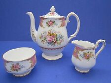 Royal Albert Lady Carlyle Espresso Small Coffee Pot Sugar Cream Reg No855022