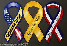 SUPPORT OUR TROOPS RIBBON MAGNET CAR AUTO REFRIGERATOR FRIDGE KITCHEN - LOT OF 3