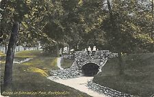 Illinois postcard Rockford, Bridge in Sinnissippi Park ca 1912