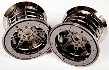 "Axial BLACK Chrome Bead-Lock 8 Spoke 3.8"" 40 Truck Wheels (2 14/17mm Hex  AX8046"