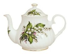 Heirloom Fine English Bone China 4 Cup Teapot Tea Pot LILY OF THE VALLEY