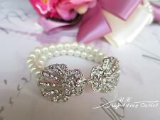Bridal Accessories bracelet crystal diamantes rhinestones pearl elastic fitness