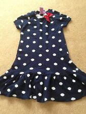 GIRLS KNITTED NAVY SPOTTED DRESS AGE 2 yrs
