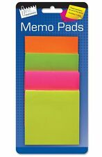 Just Stationery 75mm Square Memo Stickers - NEON Assorted Colour Pack of 200