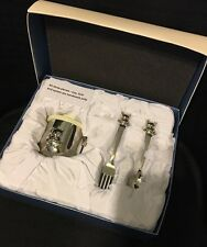 ��Things Remembered Silver Baby Set: Teddy Bear Cup and Fork & Spoon! B/N!!