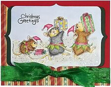 Christmas Elfs HOUSE MOUSE Wood Mounted Rubber Stamp STAMPENDOUS, NEW - HMP54