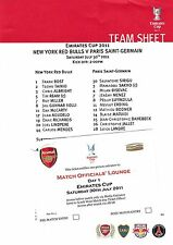 Football Teamsheet+Officials' Lounge Ticket NEW YORK RED BULLS v PSG July 2011