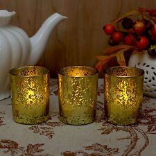 3 Decorative LED Tea Candles Flameless in Glass Votive Holder Batteries Included