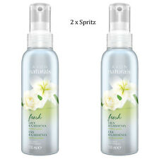 2 x Avon Naturals Fresh Lily & Gardenia Scented Spritz // Room Mist Spray 100ml
