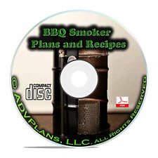 How to Build a BBQ Meat Smoker Plans, Smokehouse, Barrel Smokers, Guides CD B72