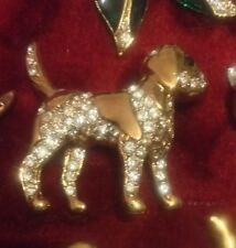 Stunning LONDON Designer Snoopy dog BEAGLE HOUND HUNTING 22ct CRYSTAL   BROOCH