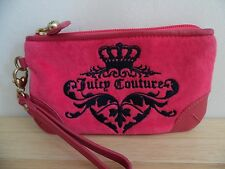 Juicy Couture Bright Pink Velour w/Leather Crown Signature Wristlet, Excellent