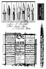 Stampington & Co Quill Writing Cling Rubber Stamp Set Vintage inspired