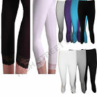 Ladies Girls Black White Lace Leggings Cropped 3/4 Length All color Size 8-14new