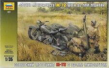 1/35 Zvezda 3651 - WWII M-72 Soviet Motorcycle with Mortar and Crew Model kit