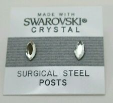 8mm Small Silver Crystal Oval Circle Stud Earrings SWAROVSKI ELEMENTS Gift