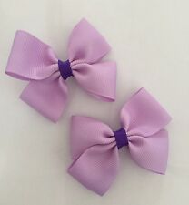 2 Packs Of Lavender Purple Big Bow Hair Clips/aligator Clip/schools Uniform